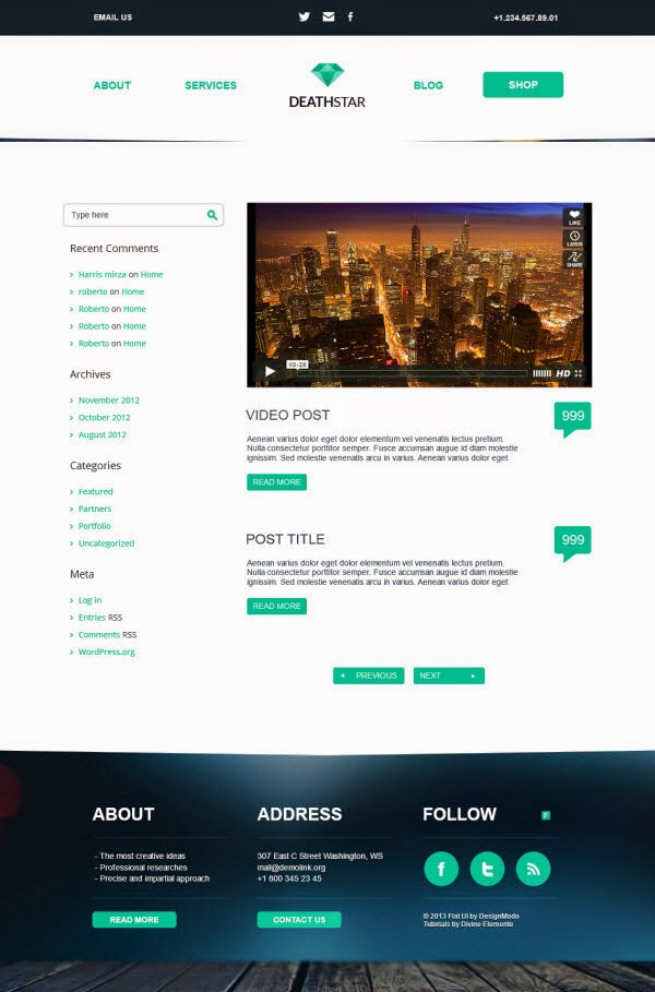 New Flat UI WordPress Template