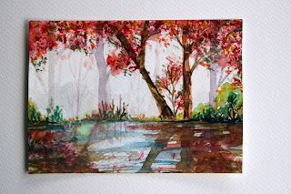 reflection,trees,autumn,shadow,pond,lake,watercolors