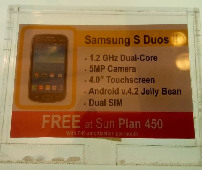 Samsung Galaxy S Duos II Free At Sun Cellular Plan 450