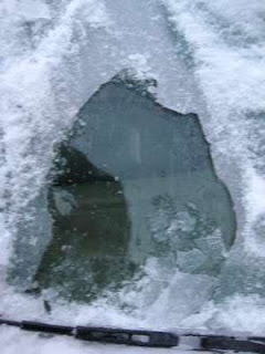 Image: ice on the windshield, by Anni and Bryan's (anniandbryan) from PhotoBucket