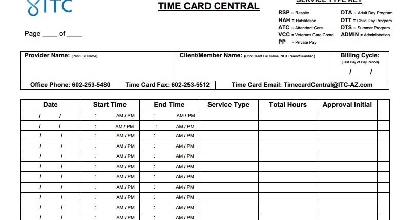 time card print out
