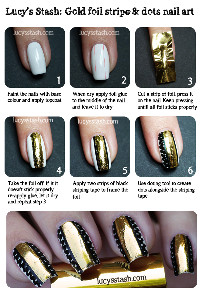 Lucy's Stash - Gold foil stripe &amp; dots nail art tutorial