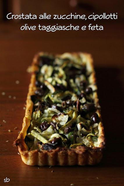 crostata salata alle zucchine, cipollotti, olive taggiasche e feta.