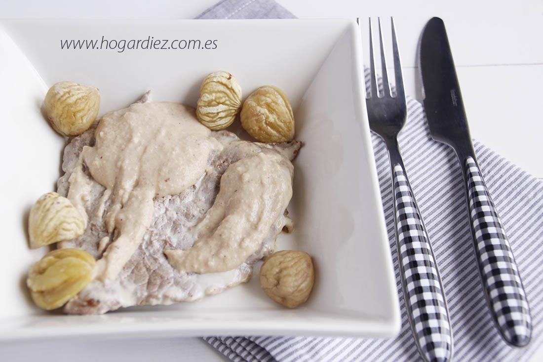 Receta filetes de ternera con salsa de castañas