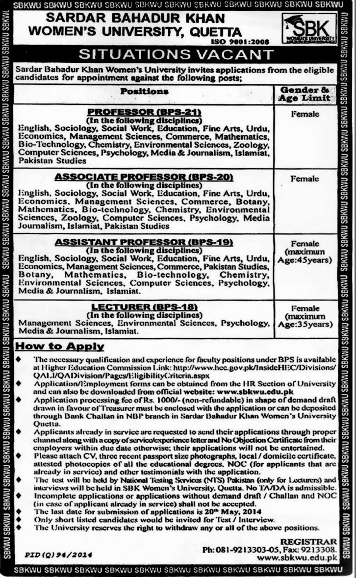 Lecturer and Professor Jobs in Sardar Bahadur Khan Women University, Quetta