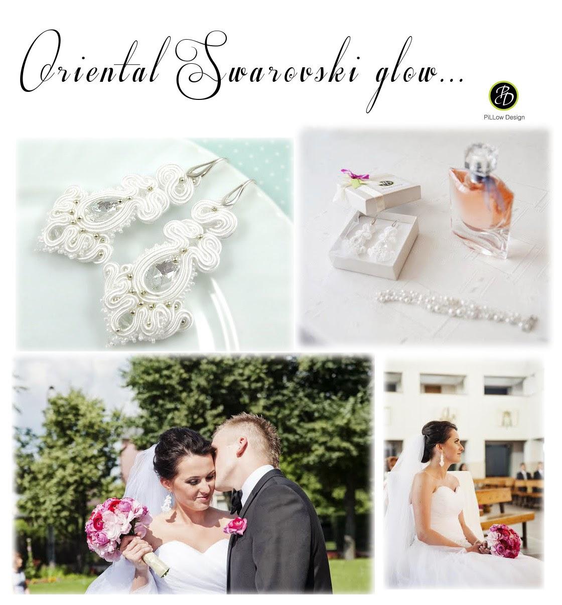 Kandelabrowe kolczyki ślubne sutasz