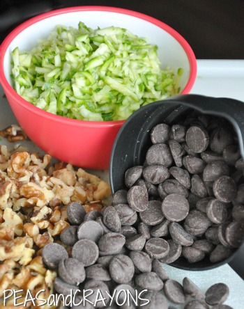 Dark Chocolate Chips Walnuts and Grated Zucchini