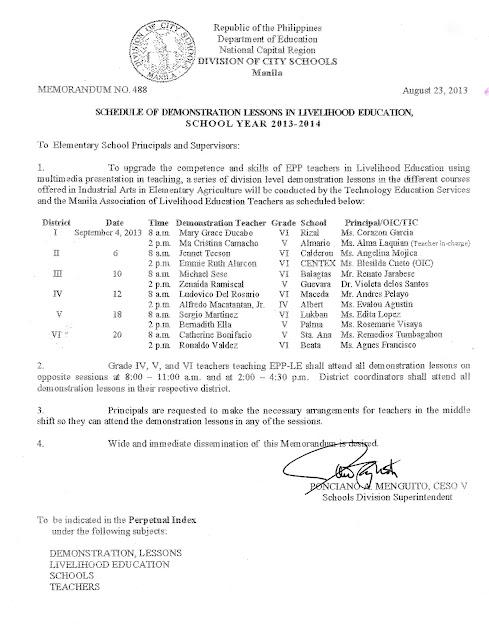 Division Memorandum No. 488 SCHEDULE OF DEMONSTRATION LESSONS IN