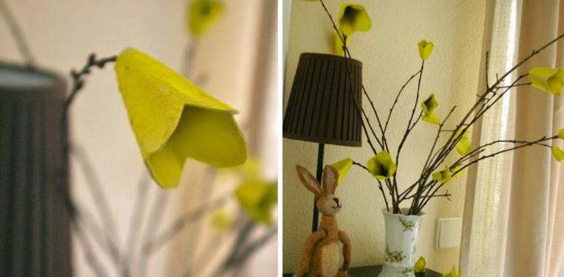 Flores con Cajas de Huevo Recicladas