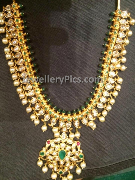 mango mala with kundan pachi work