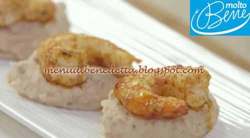 Hummus di borlotti con gamberi piccanti ricetta Parodi per Molto Bene su Real Time