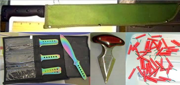 Machete (LGA), Throwing Knives (EWR), Punch Dagger (BWI), Firecrackers (MKE)