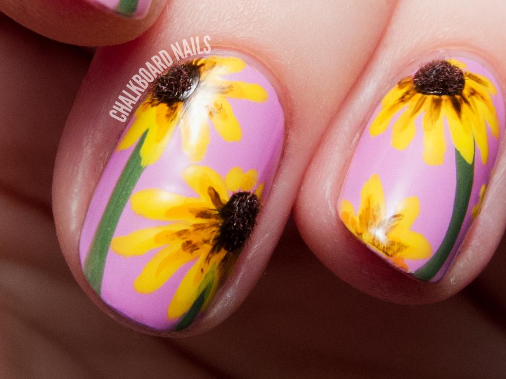 The Lacquer Legion Garden Black Eyed Susan 3d Floral Nail Art