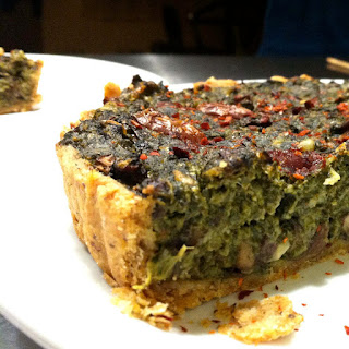 Spinach and Mushroom Tart with Olive OIl Crust