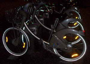 Velib cycles by night