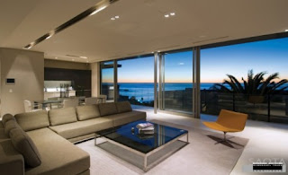 color matching furniture and beautiful interior with a view overlooking the sea