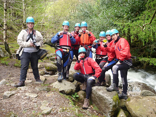 Gorge walking session in The Lake District. Kendal Mountaineering Services.