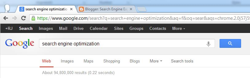 "About 94,800,000 results in 0.22 seconds when searching for ""seach engine optimization"" on google"
