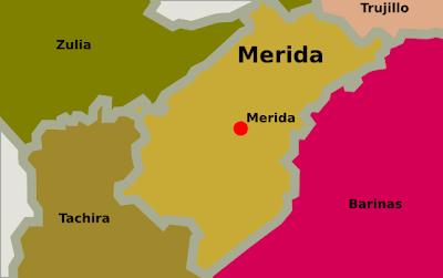 Mapa del estado Merida Venezuela