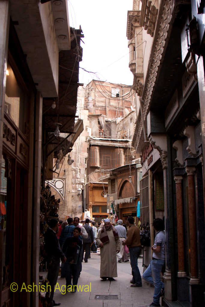 Crowded lane inside the Khan el Khalili market in Cairo