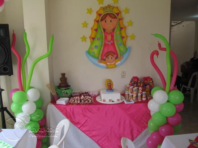 Decoracion primera comunion virgen de guadalupe for Fiestas comunion decoracion