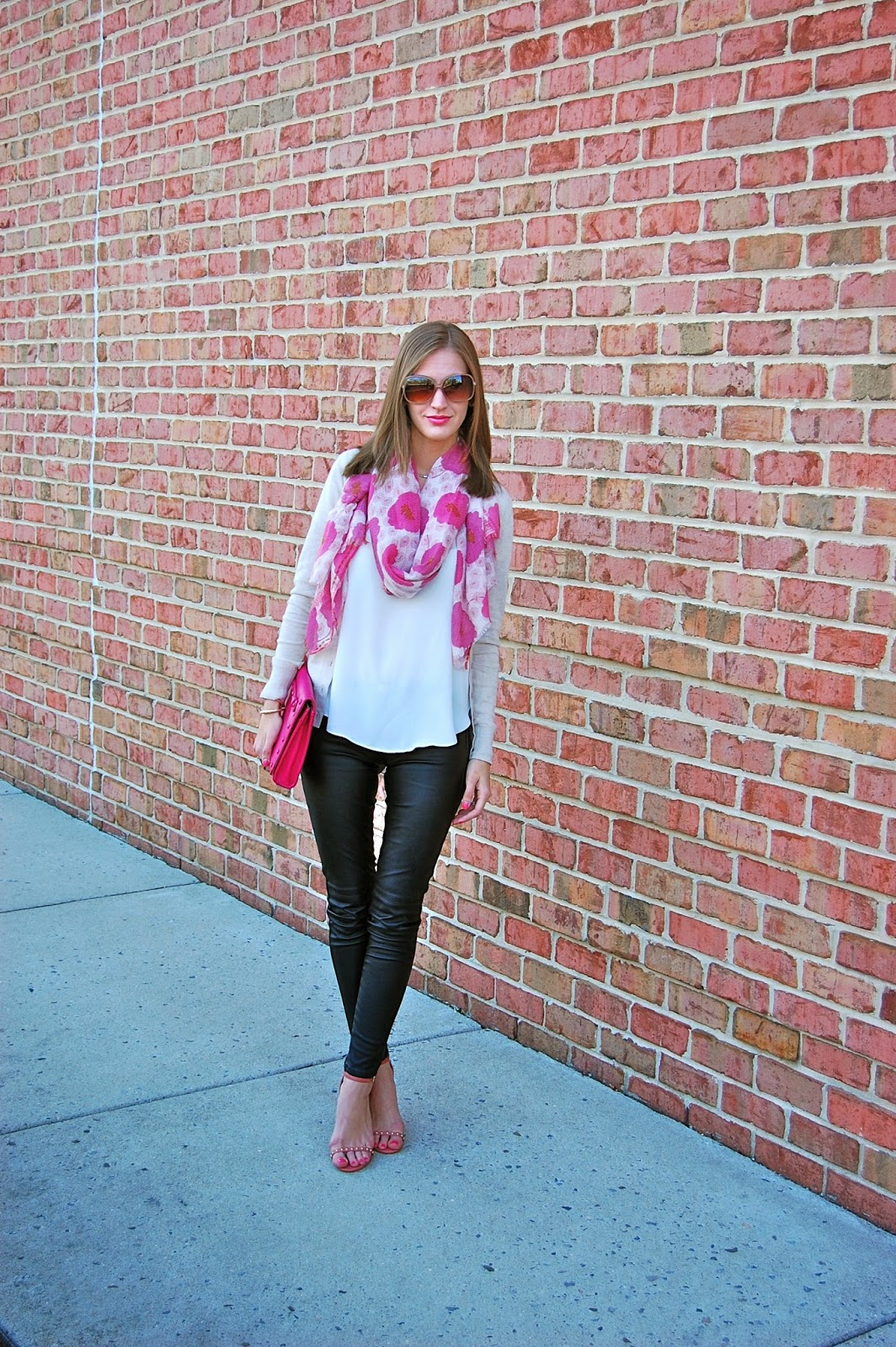 Loft Floral Scarf, H&M Leather Pants, Neiman Marcus Pink Studded Clutch