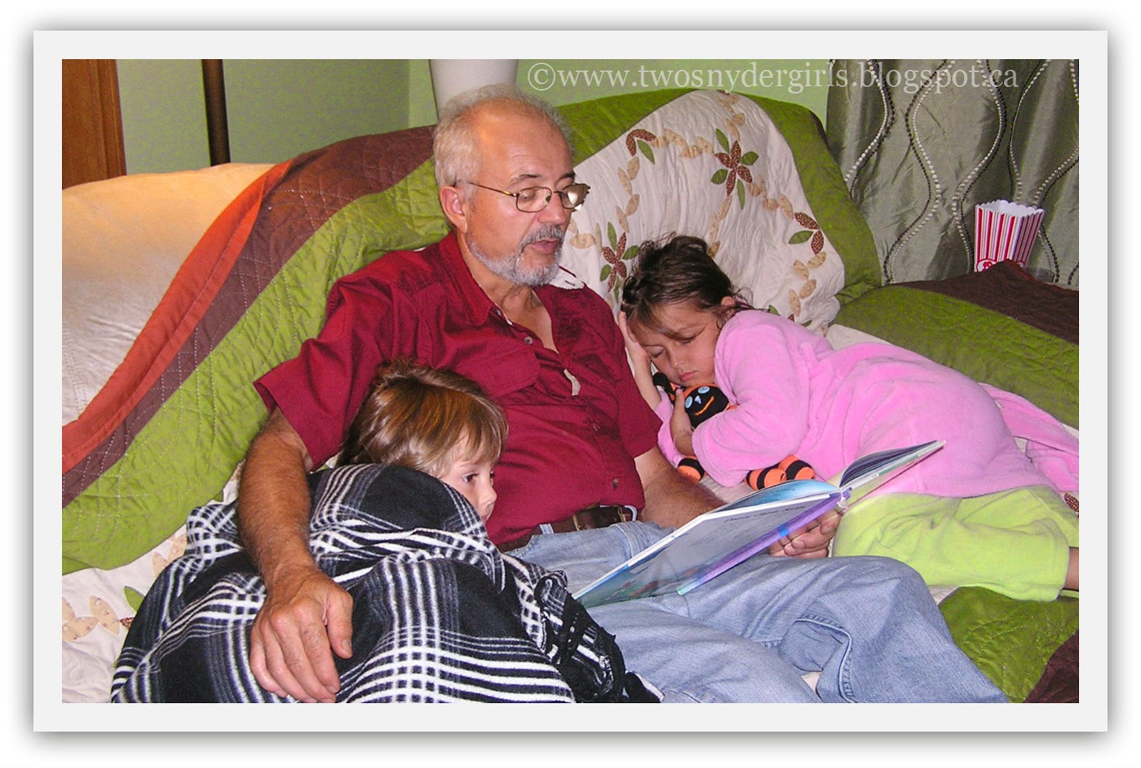 Grandpa reading good night story