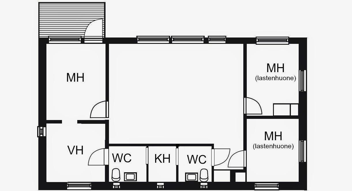 Puuta ja kiveä -raksablogin yläkerran makuuhuoneet ja vessat
