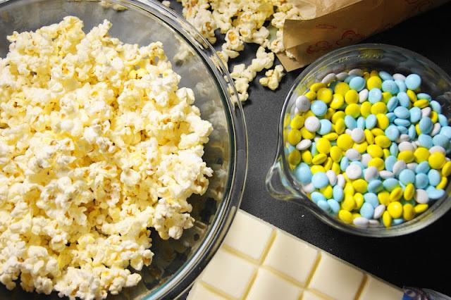 Making Baby Shower White Chocolate Popcorn