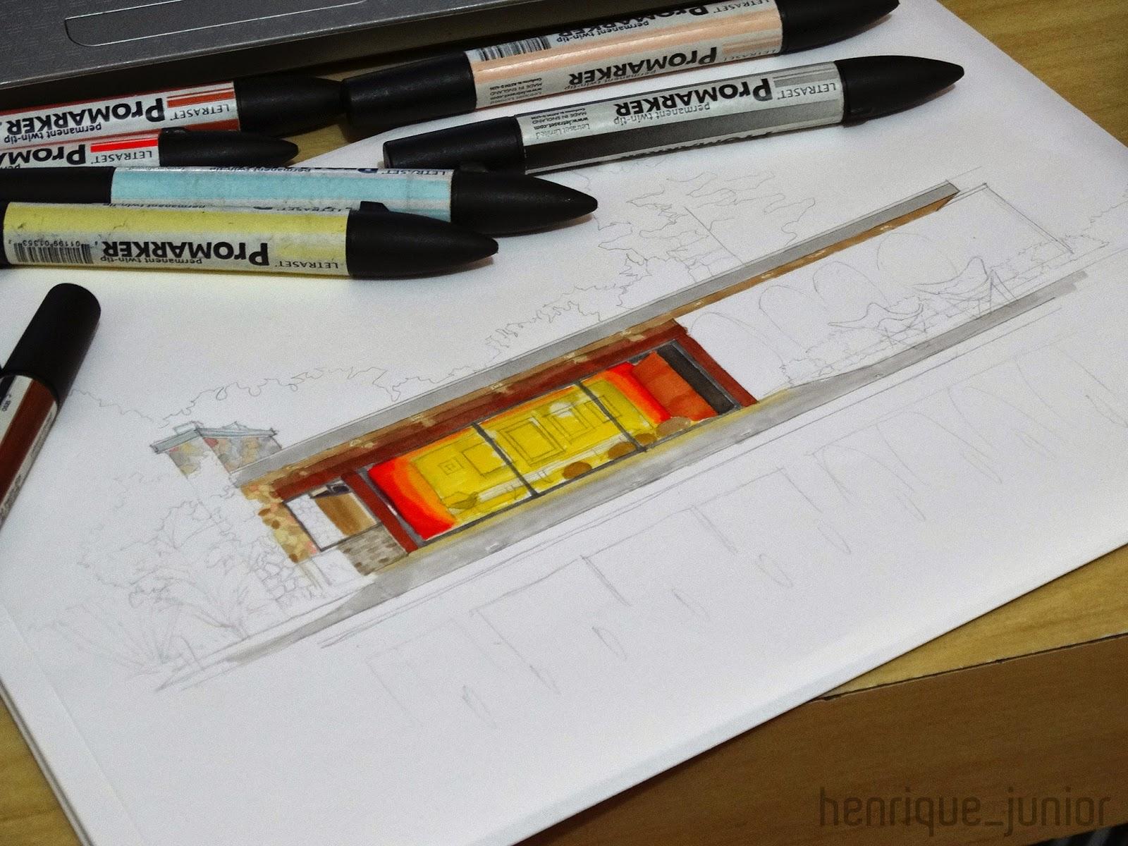 perspectiva a mão casa moderna com marcadores promarker