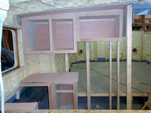 Conall 39 s boat build i started the galley cabinets for Boat kitchen cabinets