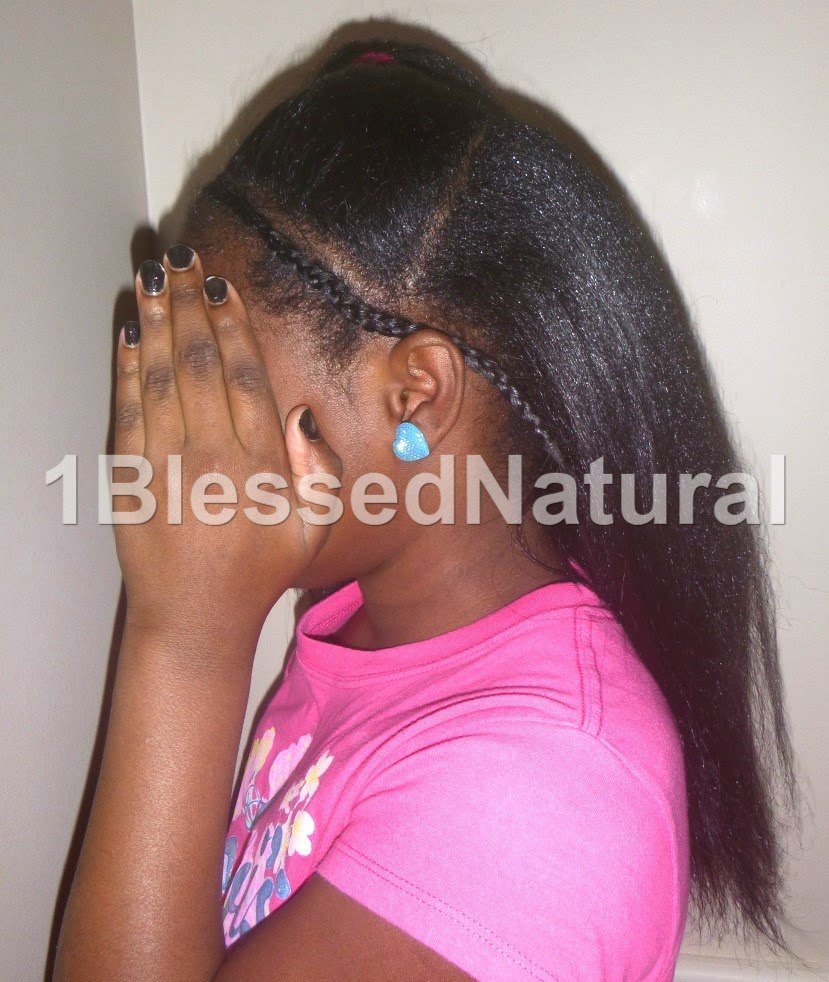 Copyright 2015 1BlessedNatural-Big Sister Natural's cornrow and ponytail style