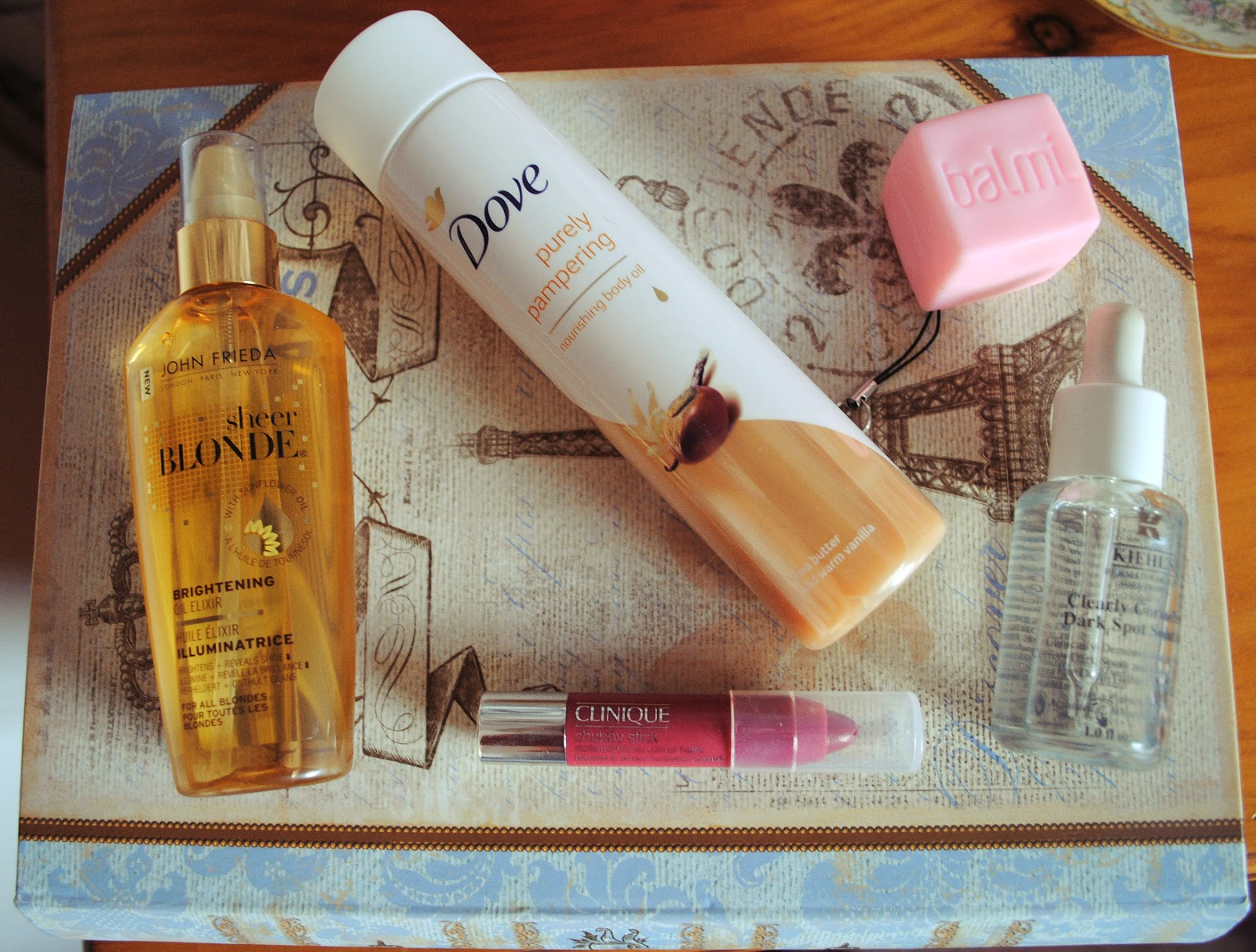 beauty edit favourites john frieda sheer blonde dove body oil clinique chubby stick balmi kheil's dark spot solution