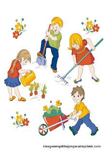 Niños cuidando el jardin en dibujos