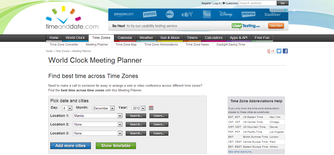 Time and date meeting planner