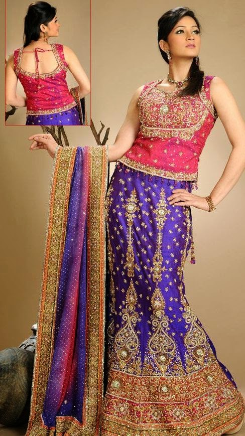 Indian Bridal Fishtail Lehenga Choli