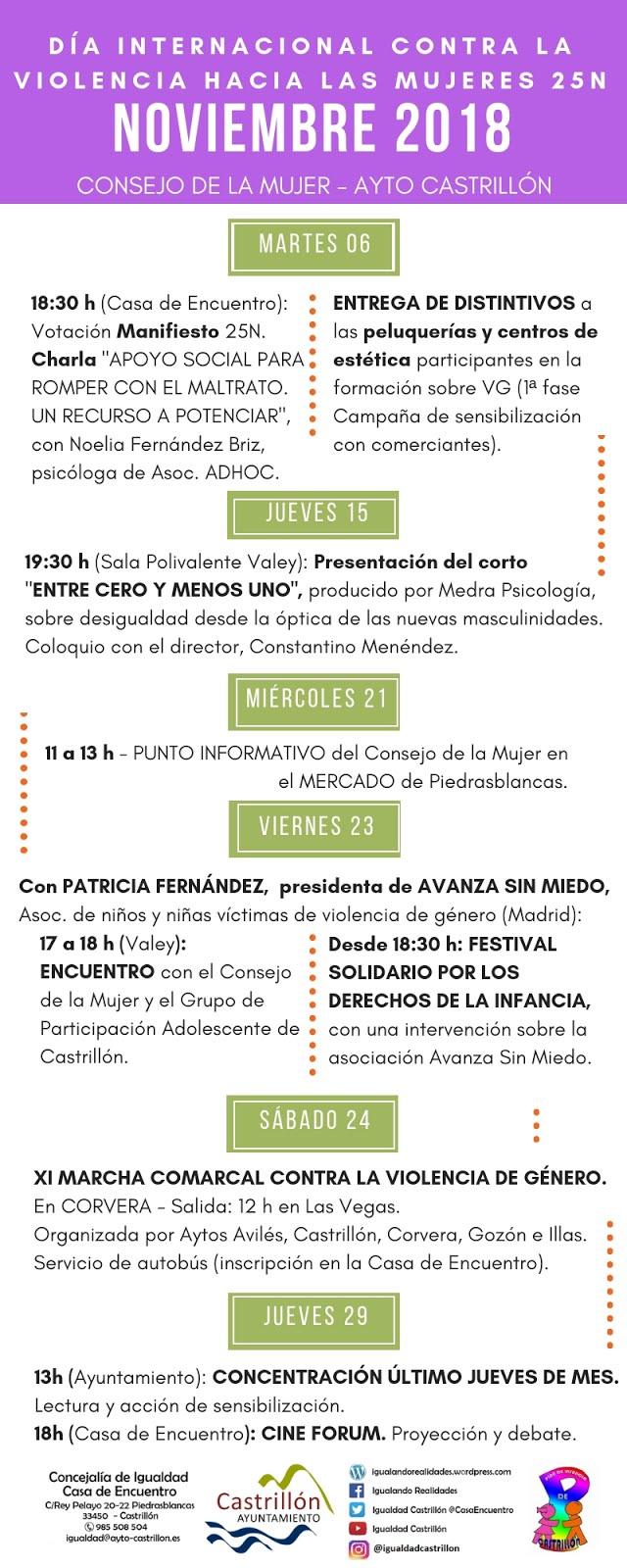 PROGRAMA DE ACTIVIDADES DEL 25N EN CASTRILLÓN