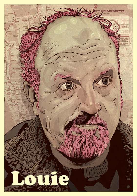 Louis CK portrait digital art