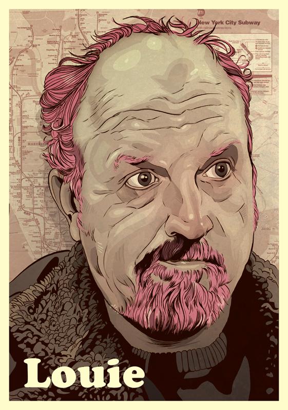 Louis CK portrait digital art