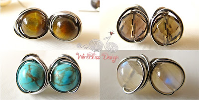 wire wrap stud earrings by WireBliss