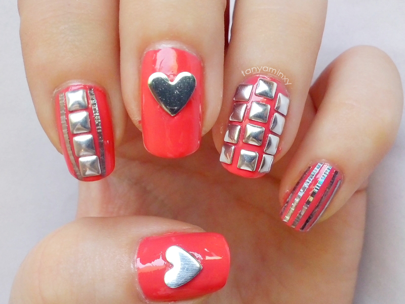 tanyaminxy KKCenterHk Heart Silver Studs Square Silver Studs Coral Nails Golden Rose With Protein 269