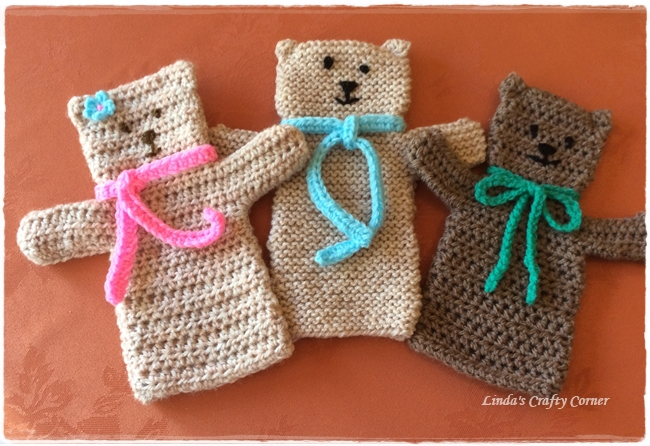 Easy Finger Puppet Knitting Pattern : Linda s crafty corner teddy puppet fun and another