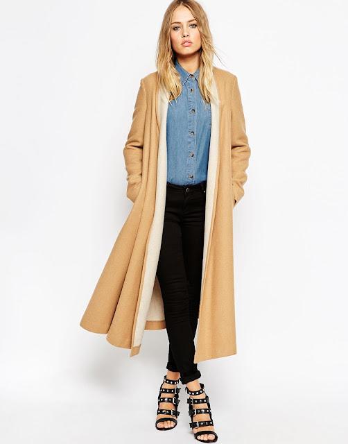 camel coat with contrast collar, asos camel coat,