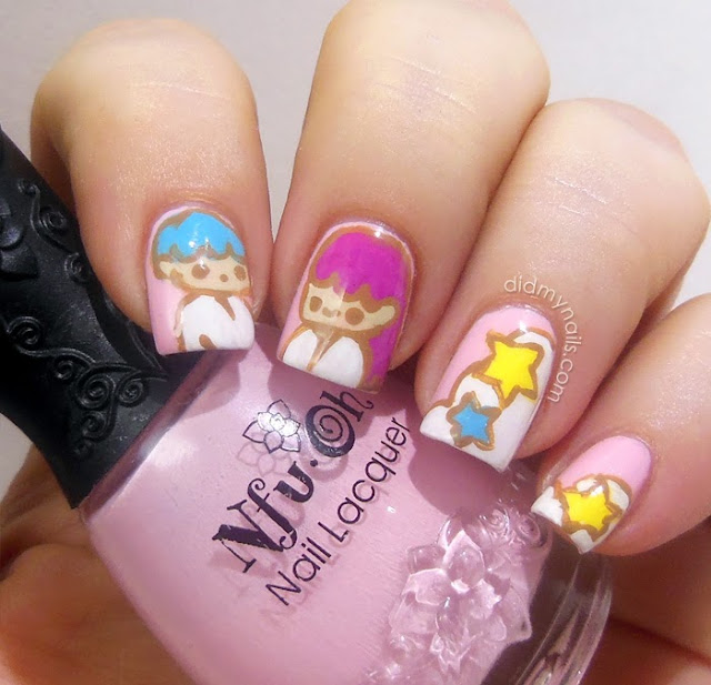Sanrio Little Twin Stars nail art