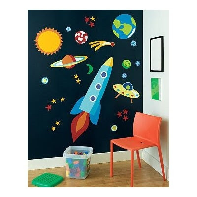outter space wall mural