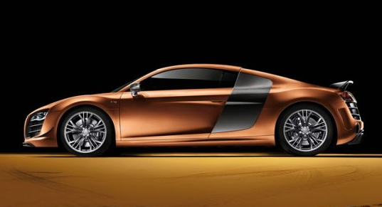 side view of nordic gold audi r8 sportscar for china