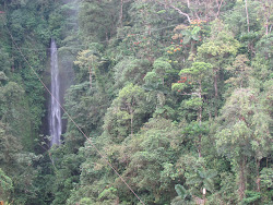 70 Meter High Catarata de La Fortuna (zipline diaganols across face of falls, left front)