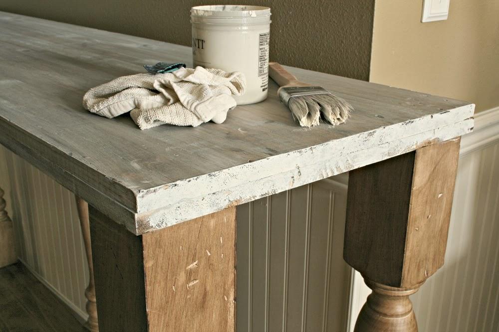 white wash, old white, diy kitchen island, narrow kitchen island, kitchen console, annie sloan stripped paint finish
