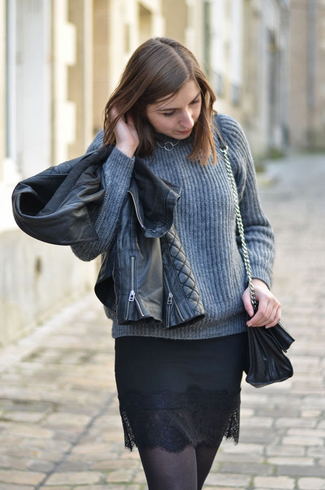pull grosse maille jupe dentelle zara perfecto cuir
