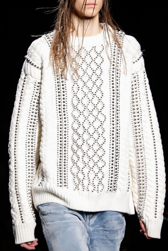 Alexander Wang 2015 AW White Beaded Cable-Knit Sweater on Runway